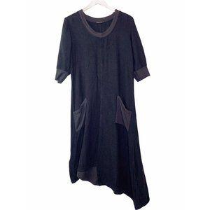 Grizas 100% Bamboo Asymmetrical Dress Sz L Pockets